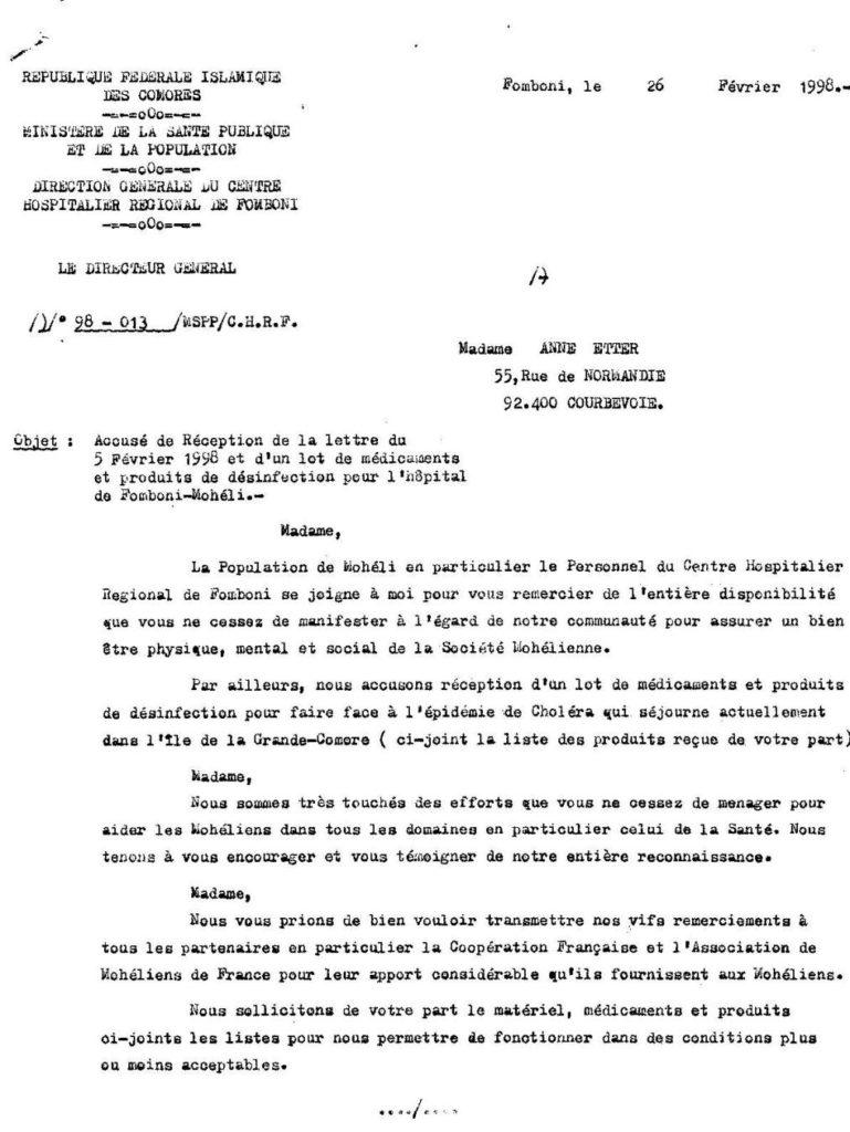 Hopital Fomboni - Page 1 Historique des actions