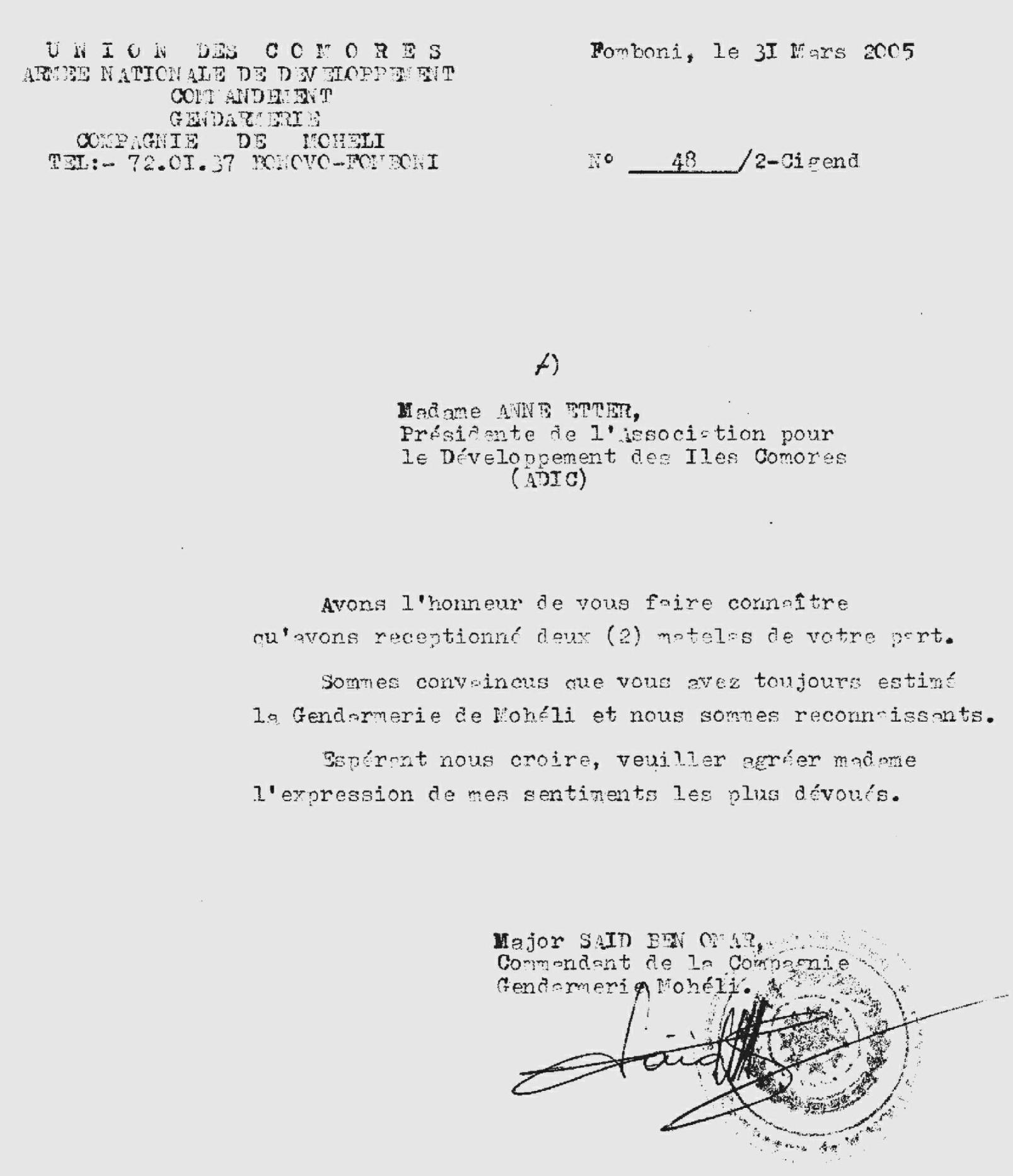 Gendarmerie Mohéli Historique des actions