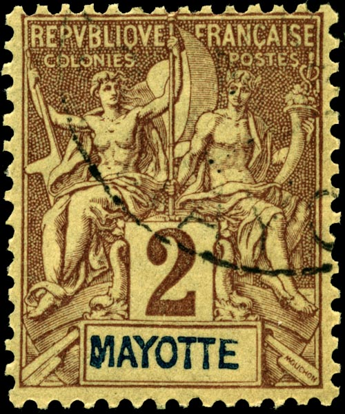 Timbre Comores 1892 Mayotte