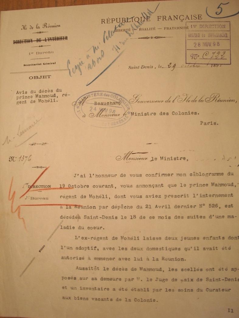 14-Sultanat de Mohéli exil Mahmoud P1