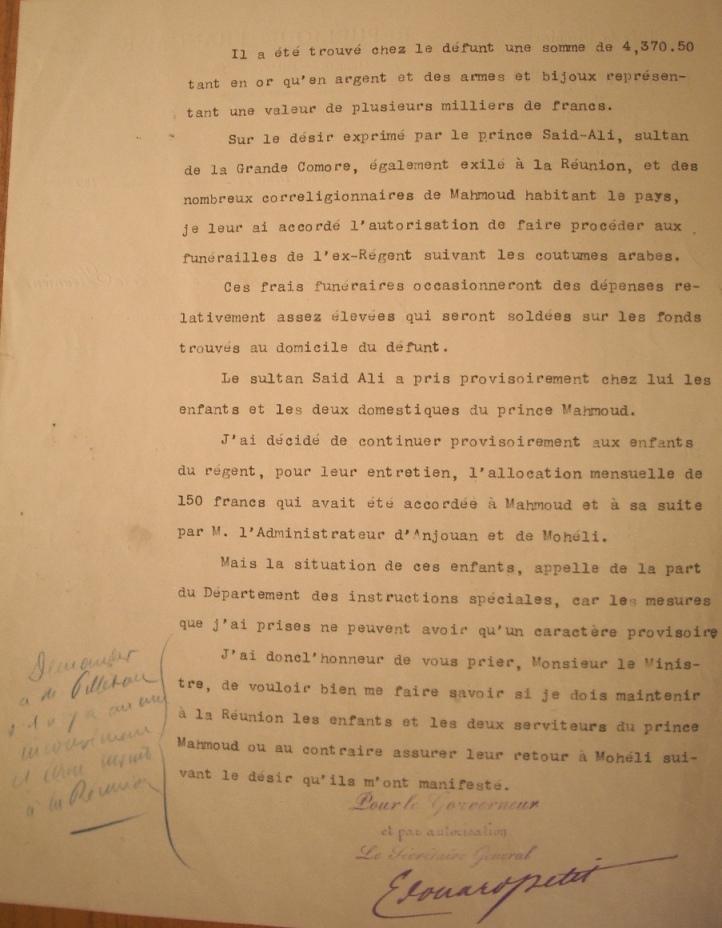 15-Sultanat de Mohéli exil Mahmoud P2