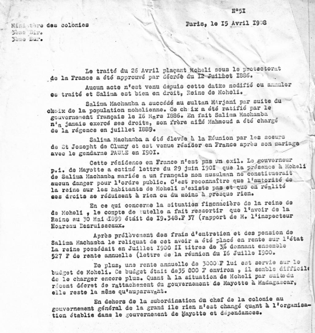 23-Sultanat de Mohéli Lettre ministère 1908