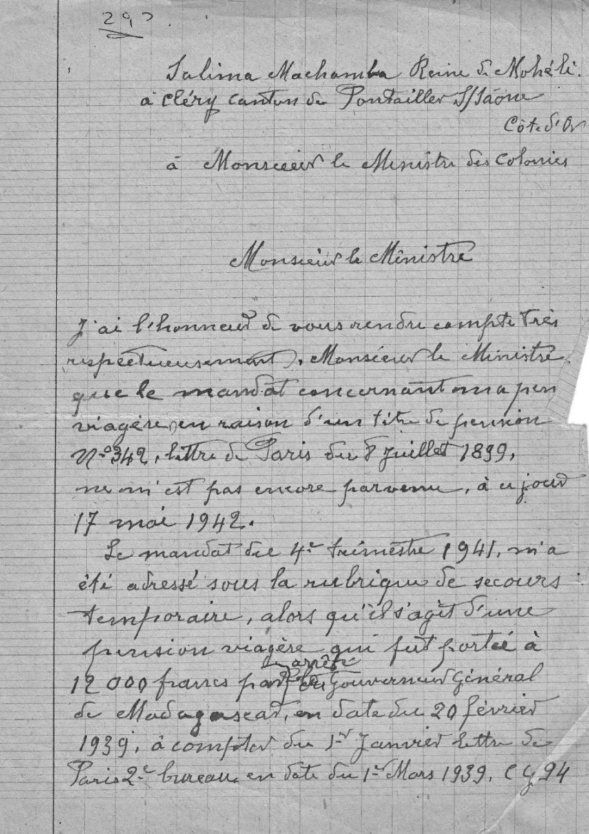 25-Sultanat de Mohéli Lettre Salima 1942