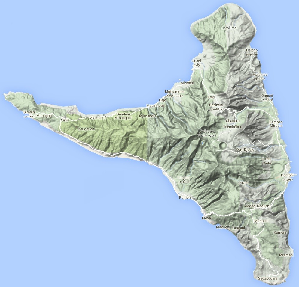Localisation des Comores Carte Anjouan