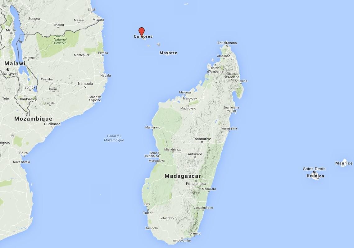 Localisation des Comores Carte n°3
